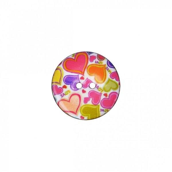 Lot de 6 boutons coco décoré cœurs 23mm - Photo n°1