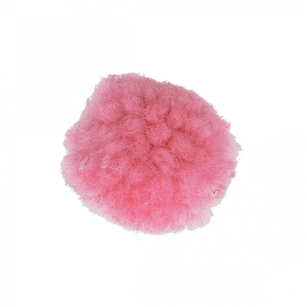Lot de 12 pompons bouclés rose laurier 25mm - Photo n°1