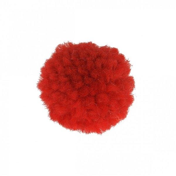Lot de 12 pompons bouclés rouge 25mm - Photo n°1