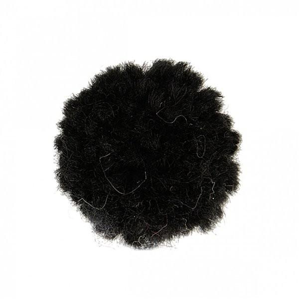 Lot de 12 pompons bouclés noir 25mm - Photo n°1