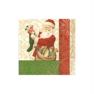 Lot de 2 Serviettes en papier motif Père Noël remplit les bas