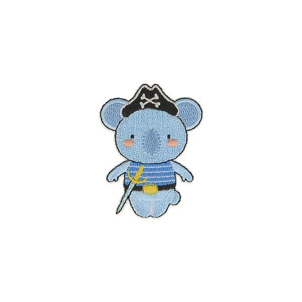 Ecusson thermocollant animaux pirates elephant 4cm x 5,3cm - Photo n°1