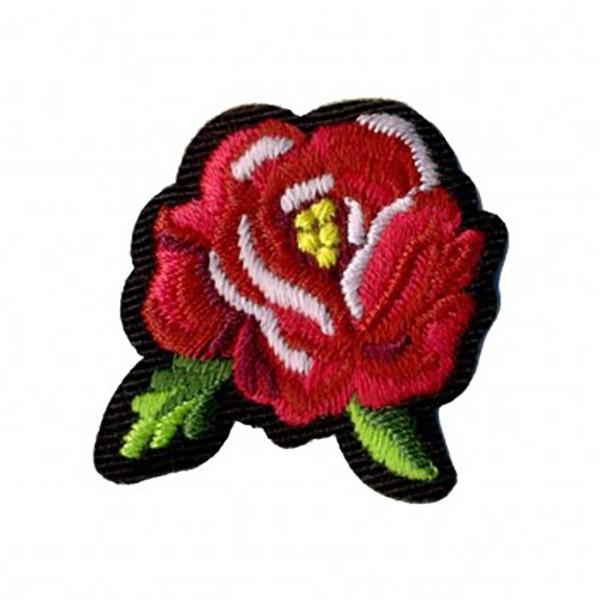 Ecusson thermocollant rose 4x3cm rouge - Photo n°1
