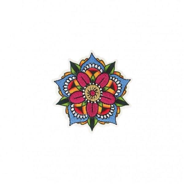 Ecusson thermocollant fleur tatoo 5,5x5,5cm - Photo n°1