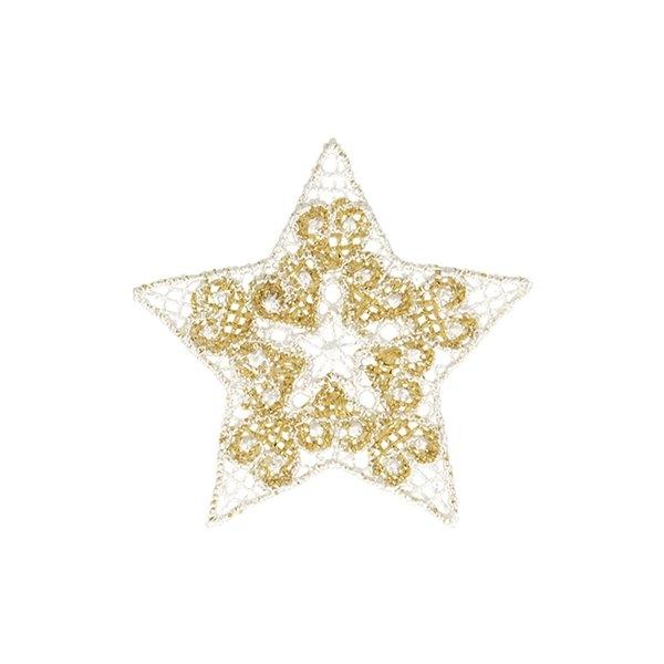 Ecusson thermocollant étoile brodée blanc/doré 4x4cm - Photo n°1