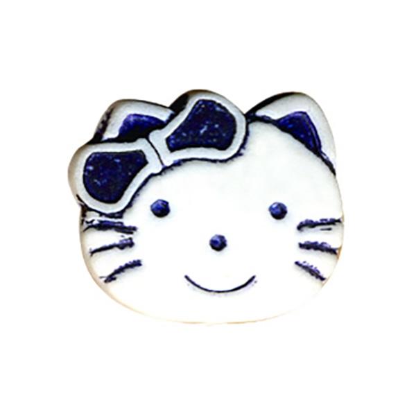 Bouton enfant kitty 19mm marine - Photo n°1
