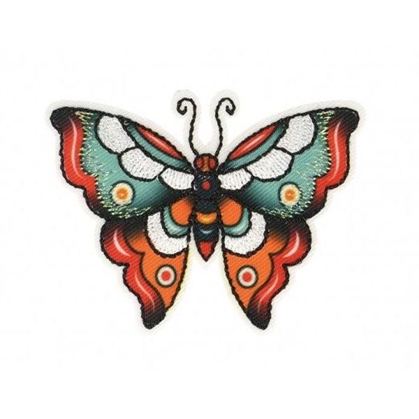 Lot de 3 écussons thermocollants papillon bleu orange 6x4cm - Photo n°1