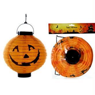 Lampion Boule LED Citrouille d'Halloween, Lanterne papier Orange, diamètre 20 cm