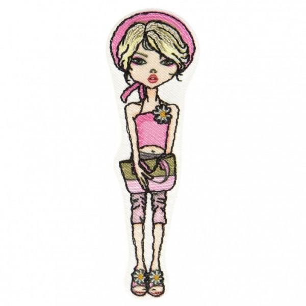 Lot de 3 écussons thermocollants jeune femme blonde à béret rose 6,5 cm x 2 cm - Photo n°1