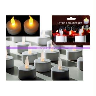 Lot de 2 bougies Chauffe plat LED, lumière jaune vacillante, haut 4,5 cm