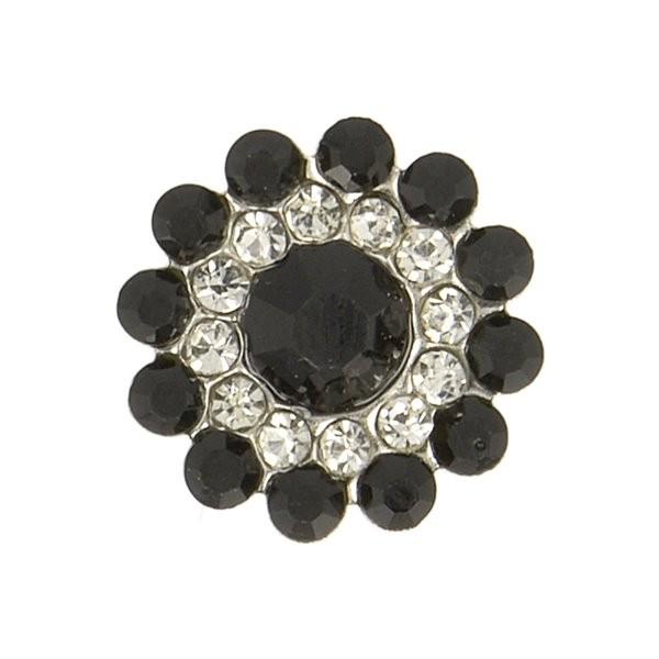 Lot de 6 boutons strass 13mm noir - Photo n°1