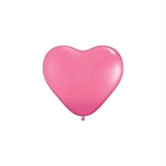 Ballon de baudruche Rose, forme Coeur, Diamètre 30 cm, lot de 10 pièces