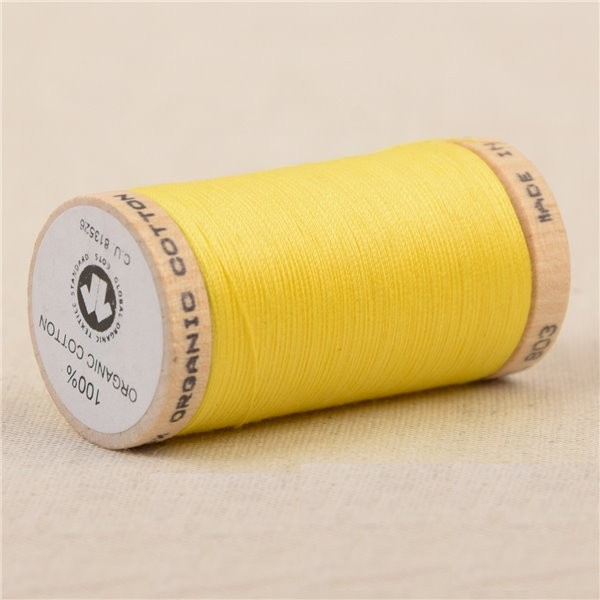 Bobine de fil 100% coton bio 275m jaune canarie - Photo n°1