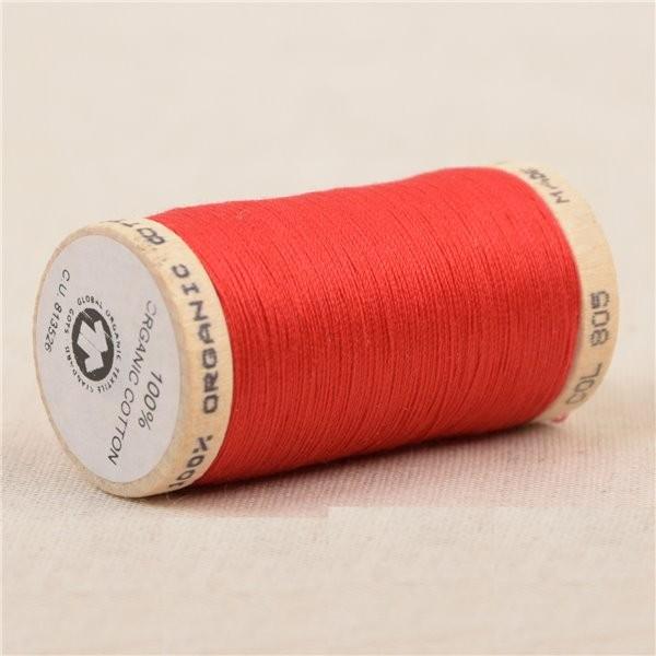 Bobine de fil 100% coton bio 275m rouge - Photo n°1