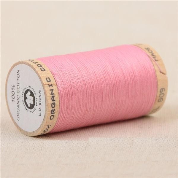 Bobine de fil 100% coton bio 275m rose layette - Photo n°1