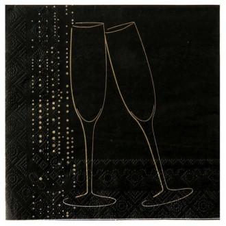 Serviette champagne noire