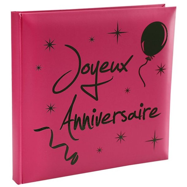 Livre d'or fuschia joyeux anniversaire - Photo n°1