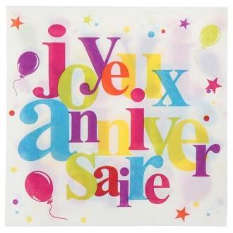 Serviette joyeux anniversaire festif