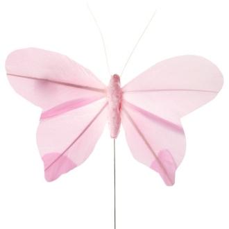 Papillon uni sur tige rose x6