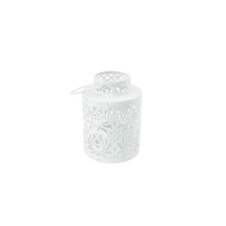 Photophore en métal rond blanc 10cm