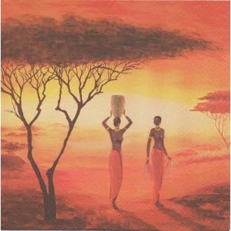 4 Serviettes en papier Afrique Femmes Format Lunch