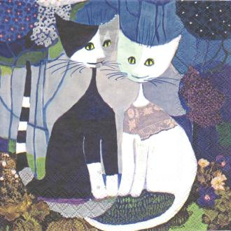 4 Serviettes en papier Chats Mariage  Rosina Wachtmeister Format Lunch
