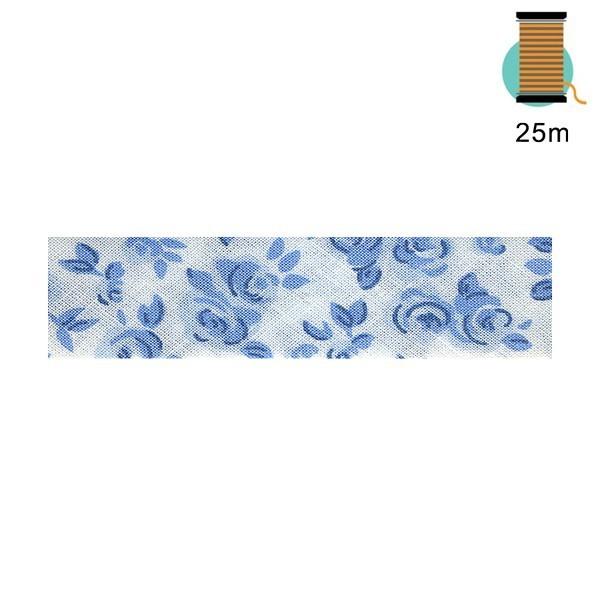 Disquette 25m biais bleu replié liberty - Photo n°1