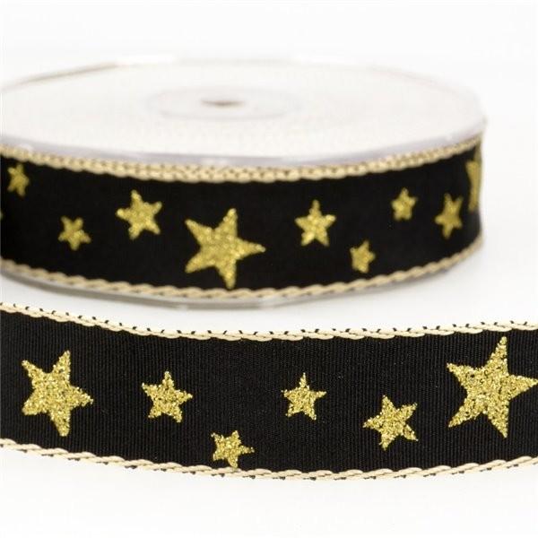 Bobine 20m Ruban étoiles 25 mm Noir - Photo n°1