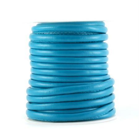 10 CM de lanière cordon en cuir rond artificiel piqué bleu pétrole turquoise - Fais-le toi-meme