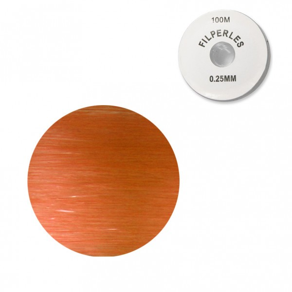 Bobine fil nylon coloré pour perles 100m - Orange C084 - Photo n°1