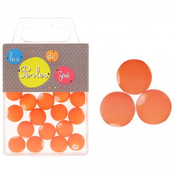 Perles plastiques orange fluo 12mm en boite de 18g - Photo n°1