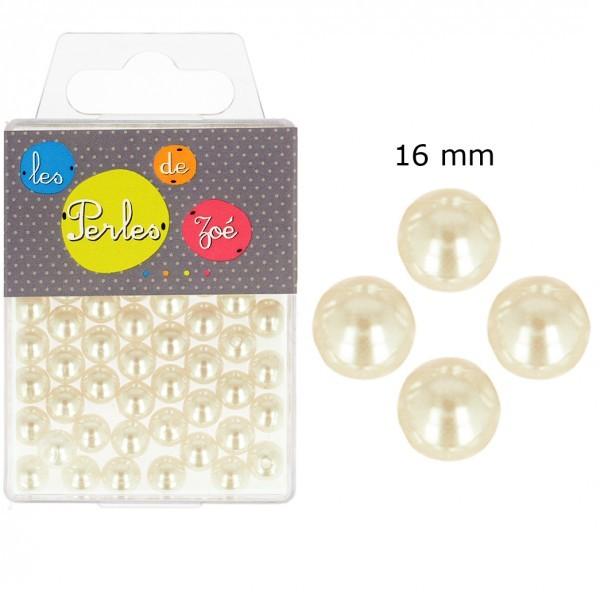 Perles rondes ivoire 16mm - boite de 9 perles - Photo n°1