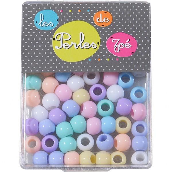 Perles plastiques rondes 6x8mm en boite de 13g - Photo n°1