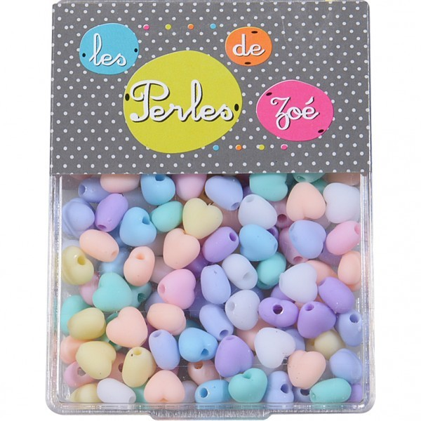 Perles plastiques cœur 7mm en boite de 18g - Photo n°1