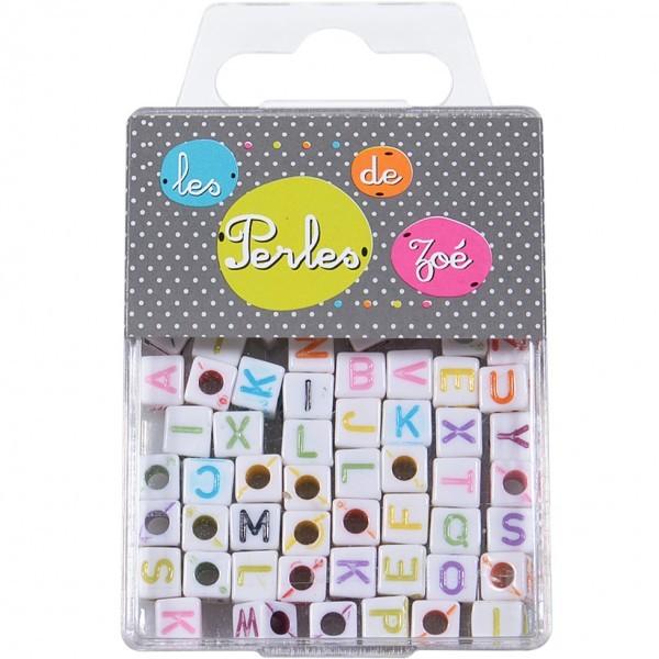 Perles plastiques lettre blanche 6mm en boite de 17g - Photo n°1
