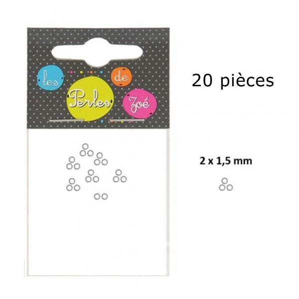 Lot de 20 perles à écraser en métal couleur Argent - Photo n°1