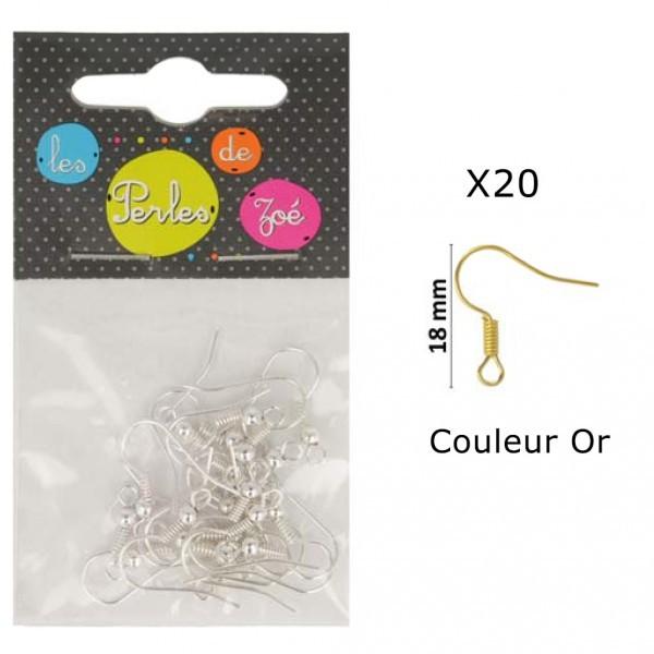 Lot de 20 boucles d'oreilles métal 18mm couleur Or - Photo n°1