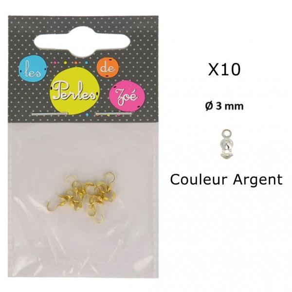 Lot de 10 embouts cache noeud 3mm Argent en métal - Photo n°1