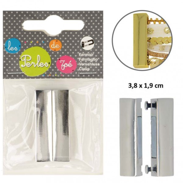 Fermoir magnétique plat 3,8cmx1,9cm Argent - Photo n°1