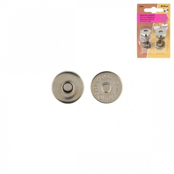 Lot de 2 fermoirs magnet à rivets couleur argent 19mm - Photo n°1