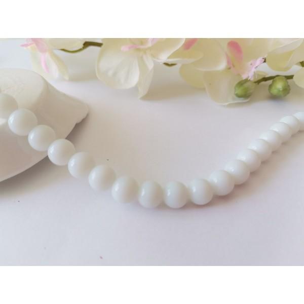 Perles en verre ronde 8 mm blanche x 20 - Photo n°1