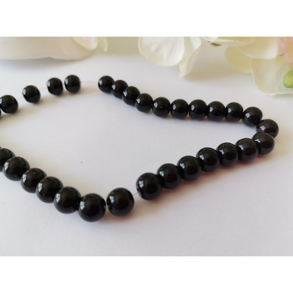 Perles en verre ronde 8 mm noire x 20 - Photo n°2