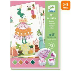Kit Créatif Djeco - Mix & Match Tampons - Flower Girls