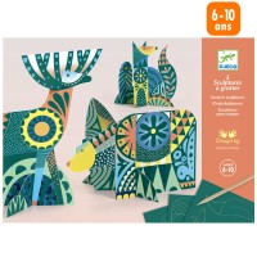 Mini Kit Créatif Djeco - Cartes à gratter - Animaux Folk