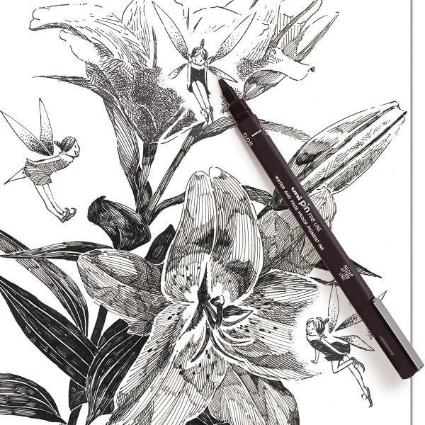 Pochette feutres d'écriture et de dessin - Pointes calibrées et biseautées - Noir - 5 pcs - Photo n°5