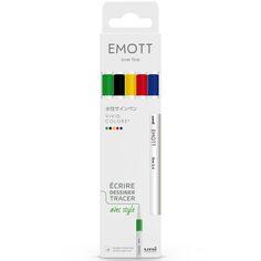 Emott - Feutres d'écriture et de dessin pointe fine - Couleurs vives - 5 pcs