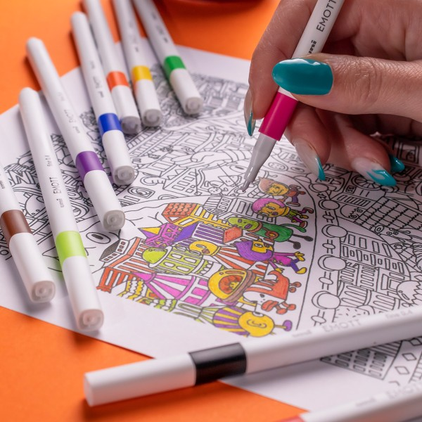 Emott - Feutres d'écriture et de dessin pointe fine - Couleurs vives - 5 pcs - Photo n°4