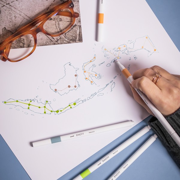 Emott - Feutres d'écriture et de dessin pointe fine - Couleurs Island - 5 pcs - Photo n°3