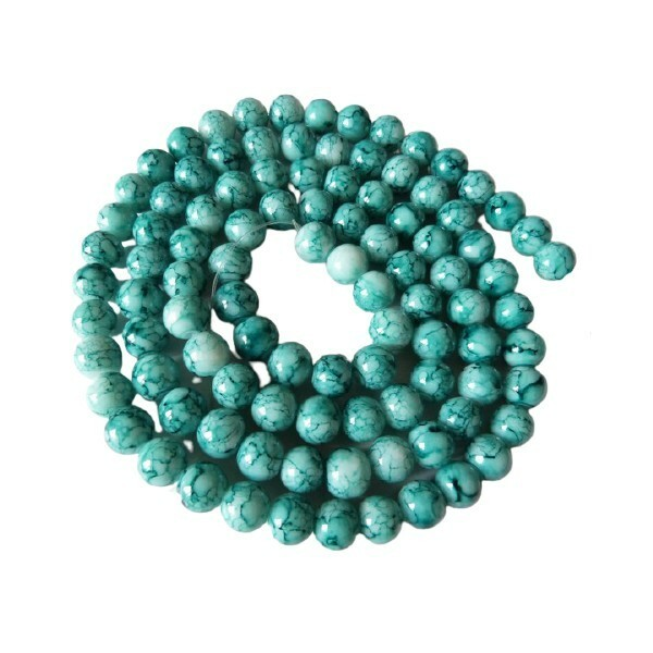 30 perles ronde en verre peint fabrication bijoux 8 mm MARBRE VERT - Photo n°1