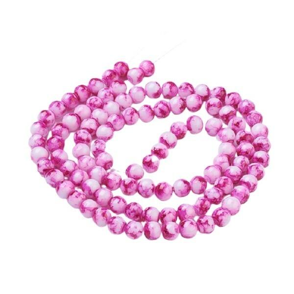 30 perles ronde en verre peint fabrication bijoux 8 mm MARBRE ROSE - Photo n°1